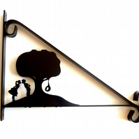 Young Love by Swinging Tyre Tree Silhouette Scroll Style Hanging Basket Bracket