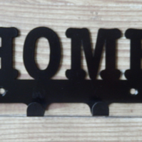Home Word Silhouette Steel Key Hook Rack - metal wall art
