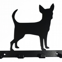 Chihuahua Dog Silhouette Steel Key Hook Rack - metal wall art