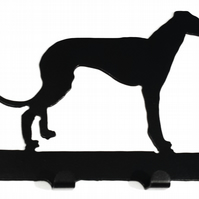 Whippet Dog Silhouette Steel Key Hook Rack - metal wall art