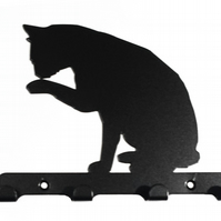 Cat Sitting & Licking its Paw Silhouette Steel Key Hook Rack - metal wall art