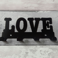 Love Word Silhouette Steel Key Hook Rack - metal wall art