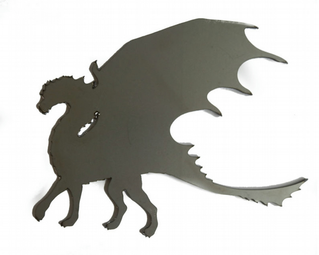 Self Colour Steel Long Neck Dragon Silhouette Fence Gate Weather Vane Decorative