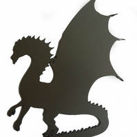 Self Colour Steel Spiky Dragon Silhouette Fence Gate Weather Vane