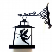 Fairy in Lantern Bird Feeder Tray Wall Mountable - Scroll Metal Wall Art