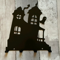Crooked House with Ghost Silhouette Steel Key Hook Rack - metal wall art