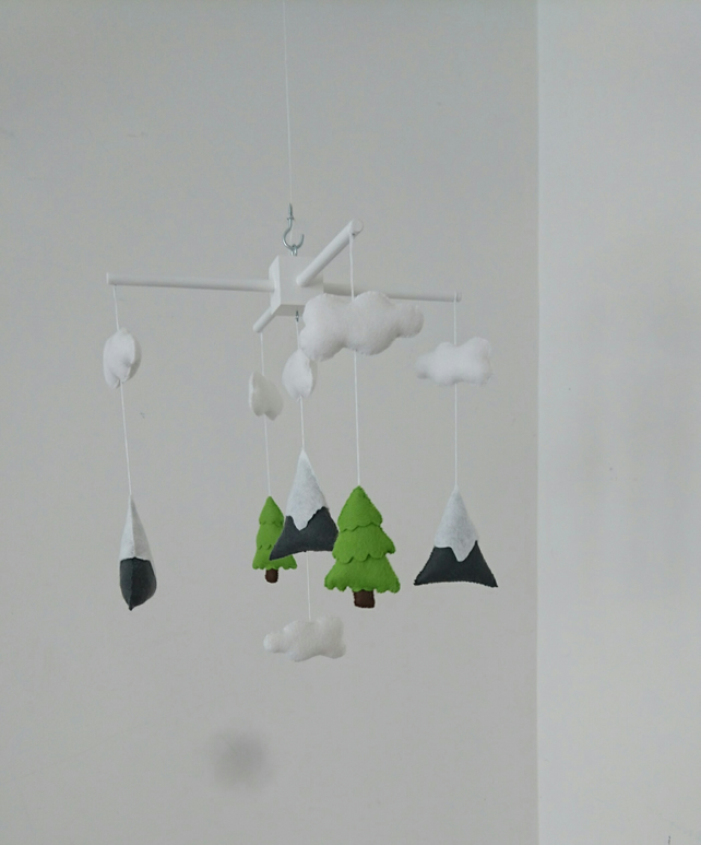 Mountains and fir trees baby mobile- mountain nursery mobile