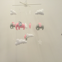 Light pink and light grey elephants with chevron ears - with stars and clouds