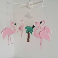 Flamingos baby mobile-made to order