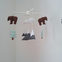Mountains, bears and fir trees baby mobile