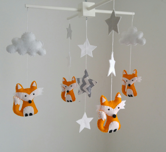 Fox Nursery Mobile With Grey And White Stars A Chevron Star