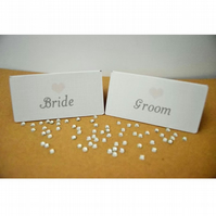 White Place Cards with Pink Heart