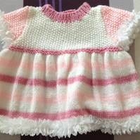 Hand knitted dress for 0 - 3 month old baby girl