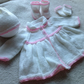 Custom order of a  0 - 3 month old matinee coat, hat, mittens and bootees set