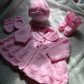Custom order of 0 - 3 months old matinee coat, hat, mittens and bootees