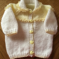 Hand knitted cardigan to fit prem baby 12 inch chest