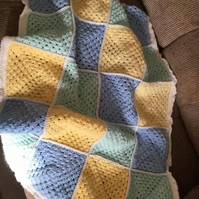 Hand crocheted baby 'boy' blanket