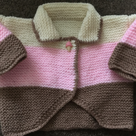 Hand knitted cardigan to fit 0-3 month old baby girl