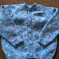 Hand knitted cardigan to fit 9-12 month old baby boy