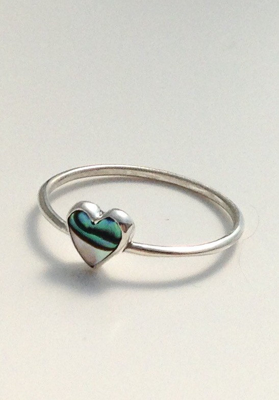Heart shape ring with abalone shell