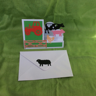 A6 stepper card - farm animals