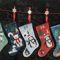 Advent Calendar Christmas Stockings Snowman, Penguins, Bears, Santa