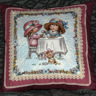 Decorative Quilted Cushion Cover 'Cute Little Girls Tea Party'