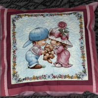 Cute Quilted Picture Cushion Cover 'Little Boy and Girl with Kitten'