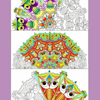 Colouring pages, 3 A4 Mandala's, Owls, Fun, Hand Drawn