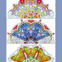 Colouring pages, 3 A4 Mandala's, Butterfly, Dragonfly, Fun, Hand Drawn