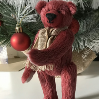 Collectable 6.5 inch Handmade Mohair Teddy Bear 'Rasbree' Red with grey paw pads
