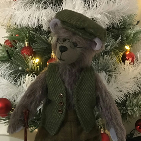 Collectable 11 inch Handmade Grey German Mohair Teddy Bear with Outfit