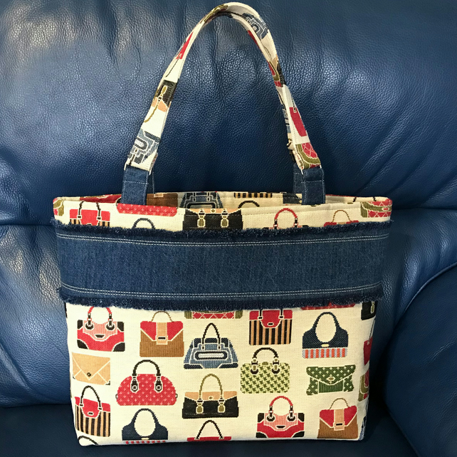 Ladies Handmade Handbag Pattern Fabric, Tote Style Handbag