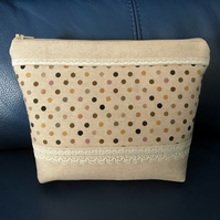 Pretty Spotty Make Up Bag with Zip, Wash Bag, Toiletry Bag, Pouch