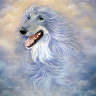 A4 Afghan Hound Print, Guardian Angel, Dog, Portrait, Pet