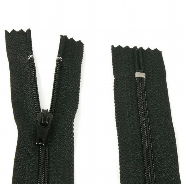 "Nylon Zip - 12"" (30cm) - Black"