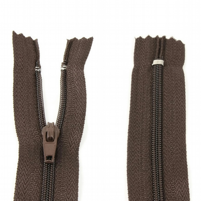 "Nylon Zip - 7"" (18cm) - Brown"