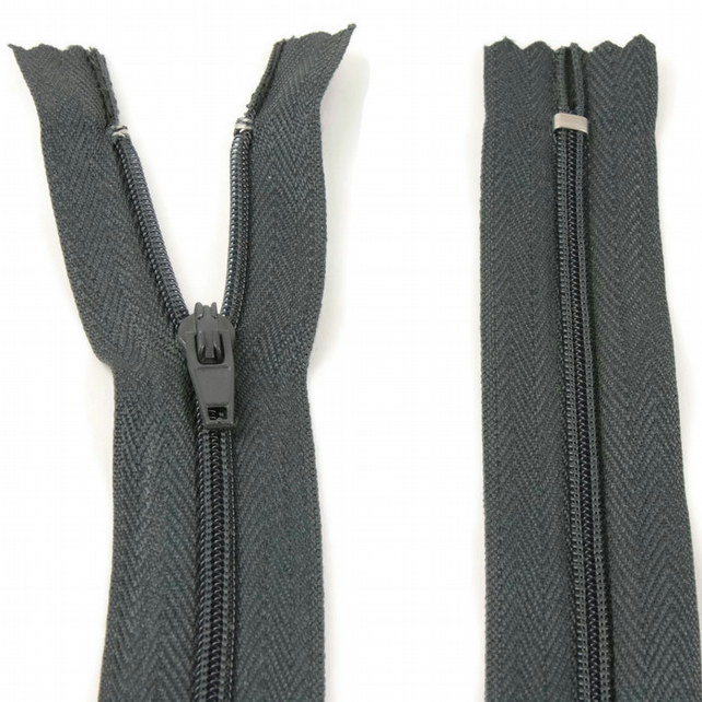 "Nylon Zip - 12"" (30cm) - Grey"