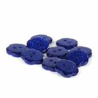 Blue Glitter Flower Button (pack of 5) - size 24 (15mm)
