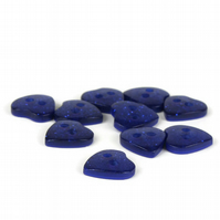 Blue Glitter Heart Button (pack of 5) - size 18 (11mm)