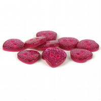 Pink Glitter Heart Button (pack of 5) - size 24 (15mm)