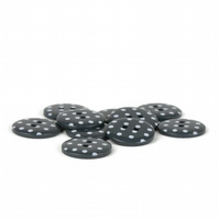 Grey Polka Dot Button (pack of 5) - size 28 (18mm)