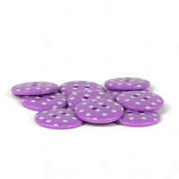 Lilac Polka Dot Button (pack of 5) - size 28 (18mm)