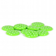 Lime Green Polka Dot Button (pack of 5) - size 28 (18mm)