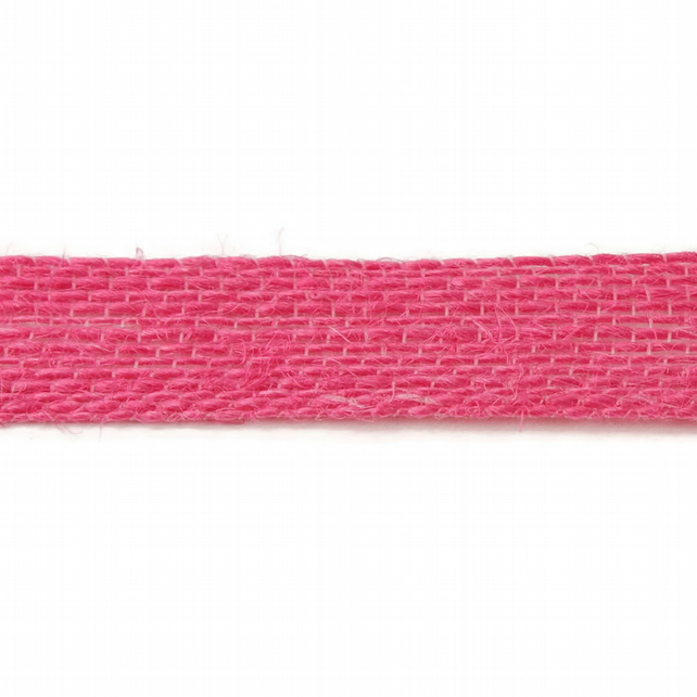 Open Weave Jute Ribbon - Hot Pink - 15mm