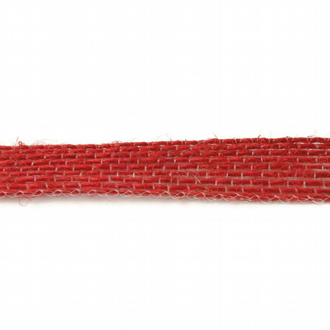 Open Weave Jute Ribbon - Red - 10mm