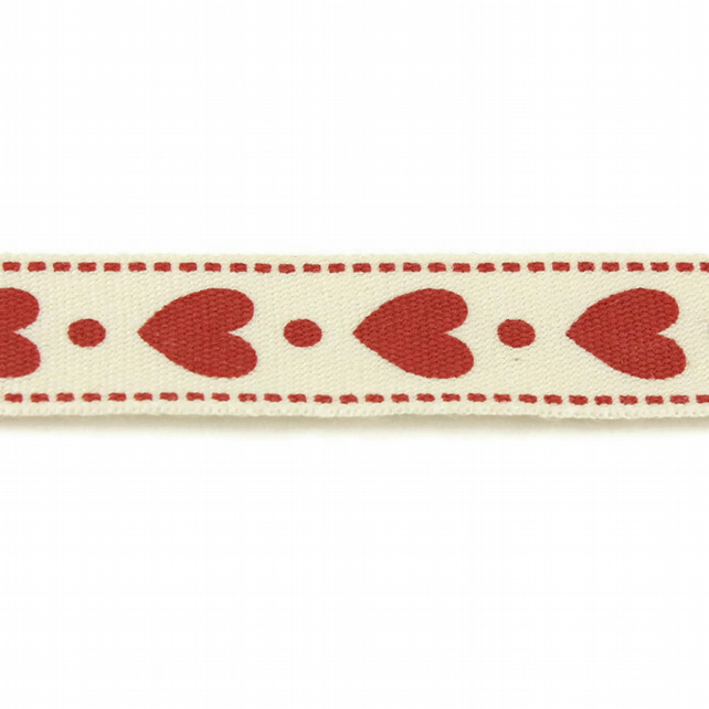 Red Hearts on White Ribbon - 15mm