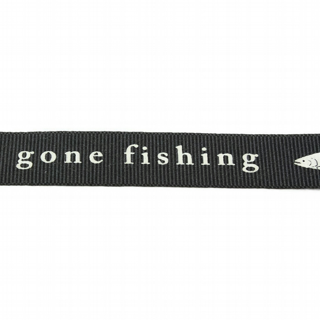 Gone Fishing Ribbon - Charcoal - 15mm