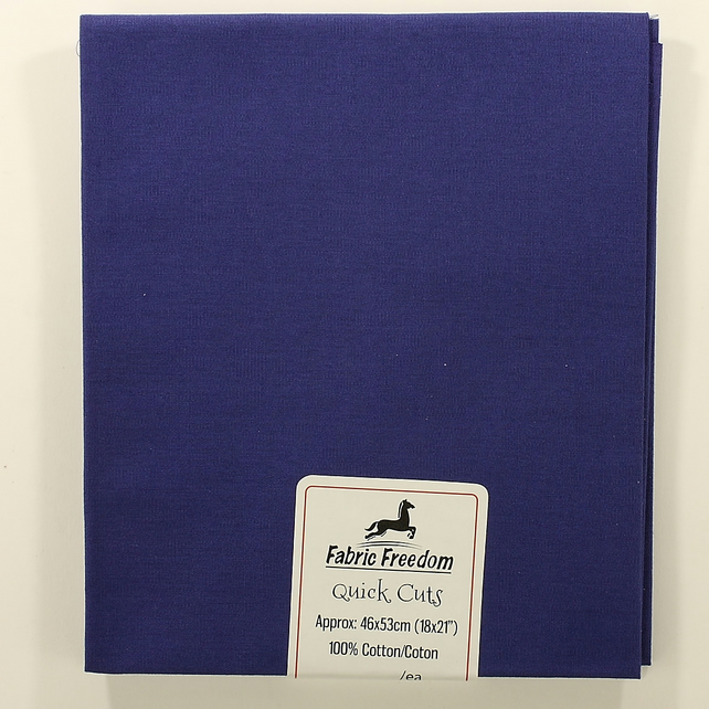 Fabric Freedom - Quick Cuts - Cotton Poplin - Royal Blue - Fat Quarter