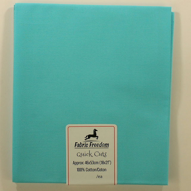 Fabric Freedom - Quick Cuts - Cotton Poplin - Turquoise - Fat Quarter